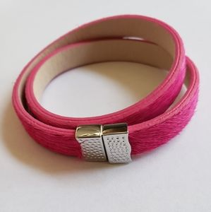 Rustic Cuff Calfskin Double Wrap Pink/Silver